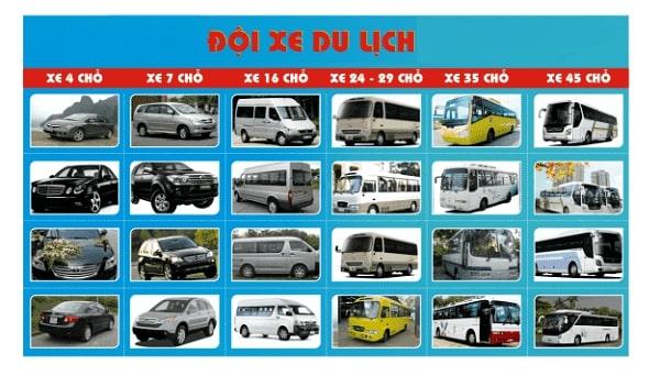 Các loại xe du lịch cho thuê tùy theo nhu cầu của khách